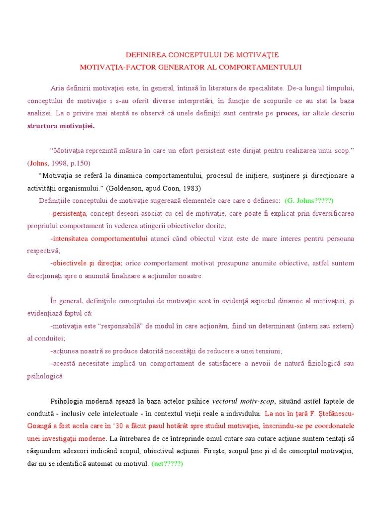Motivația din diferite puncte de vedere ale autorilor