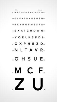tablele cu litere pentru a testa vederea