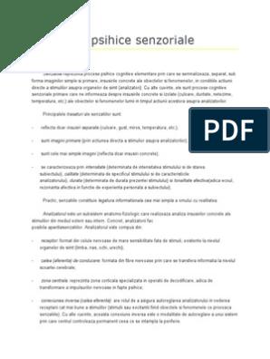 PSIHOLOGIE: PSIHOPATOLOGIE-TULBURARILE DE PERCEPTIE