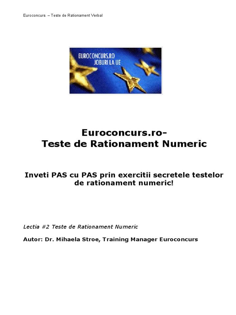 Inteligenţa numerică, Raționament pentru testele de vedere