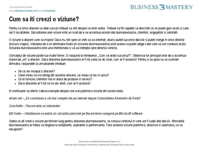 Viziunea și Ideea de afaceri